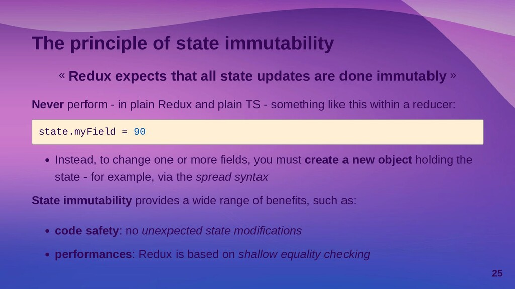 The principle of state immutability « Redux exp...