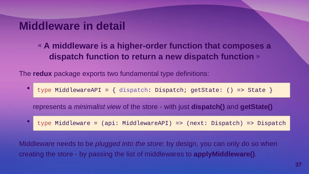 Applying middleware One of the first problems w...