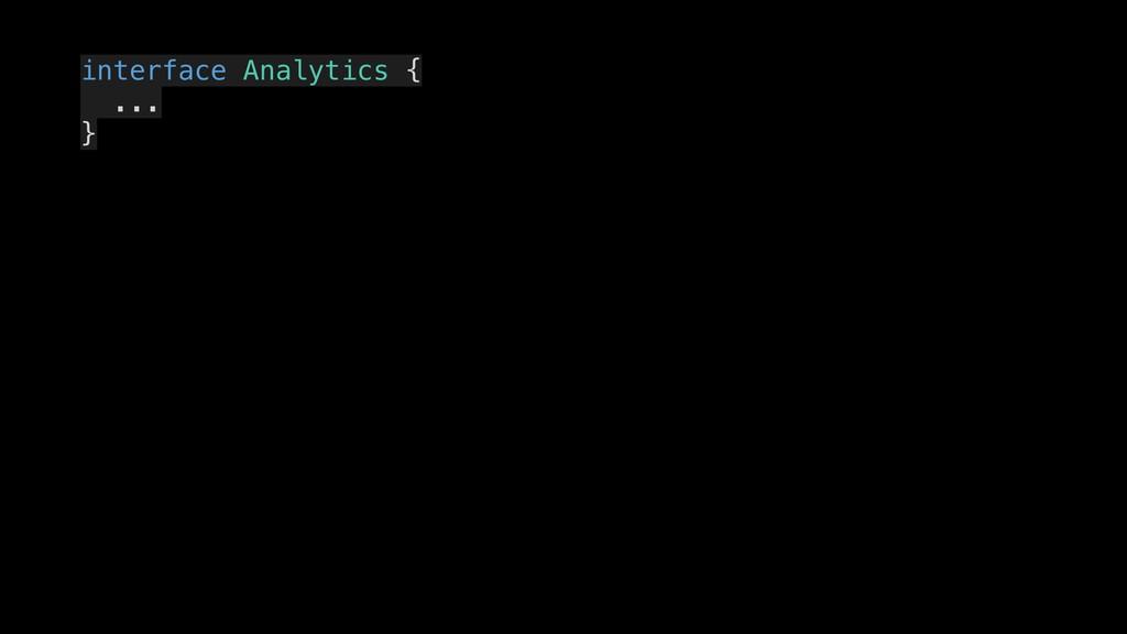 interface Analytics { ... } .