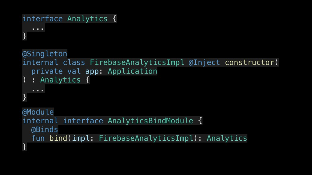 interface Analytics { . ... . } . @Singleton . ...