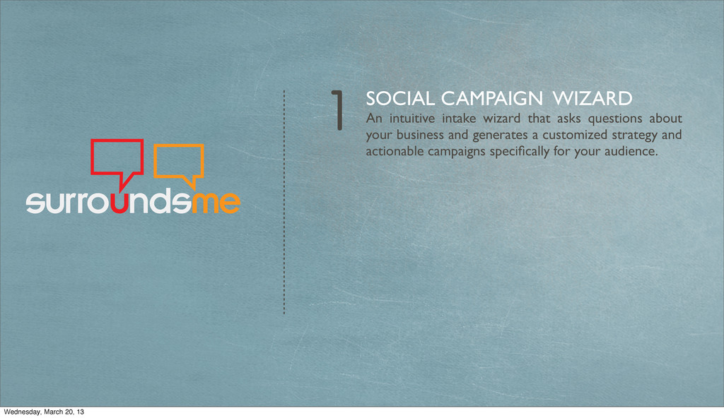 1 SOCIAL CAMPAIGN WIZARD An intuitive intake wi...