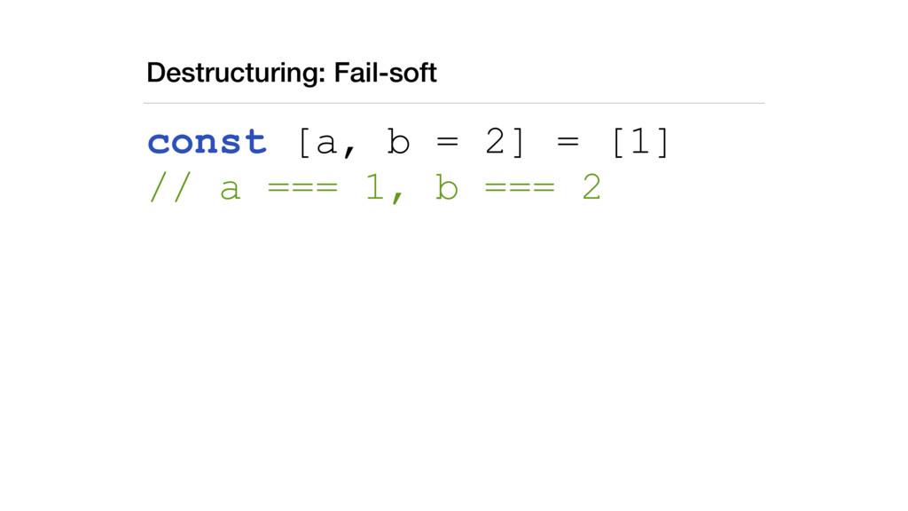 Destructuring: Fail-soft const [a, b = 2] = [1]...