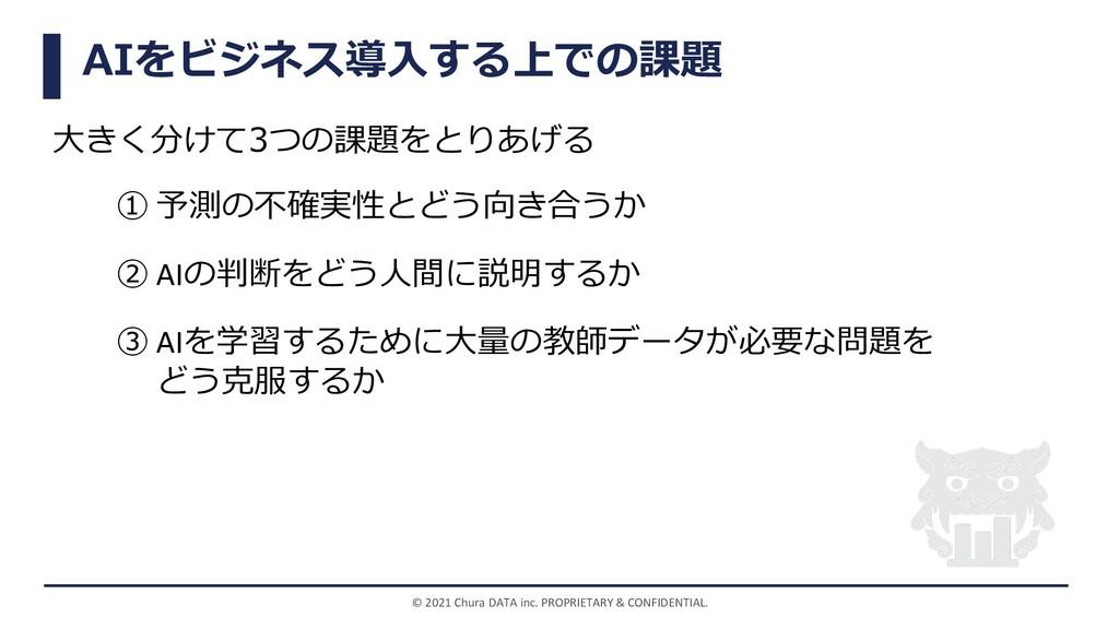 AIをビジネス導⼊する上での課題 ⼤きく分けて3つの課題をとりあげる © 2021 Chura...