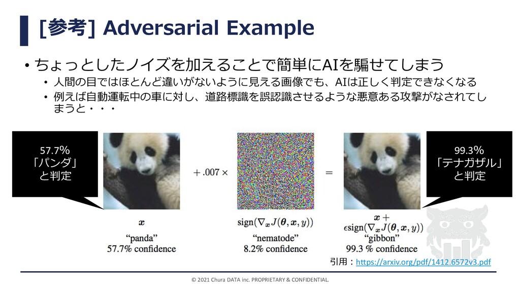 [参考] Adversarial Example • ちょっとしたノイズを加えることで簡単にA...