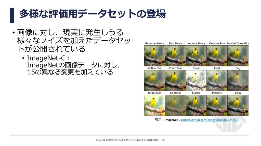 多様な評価⽤データセットの登場 • 画像に対し、現実に発⽣しうる 様々なノイズを加えたデータセ...