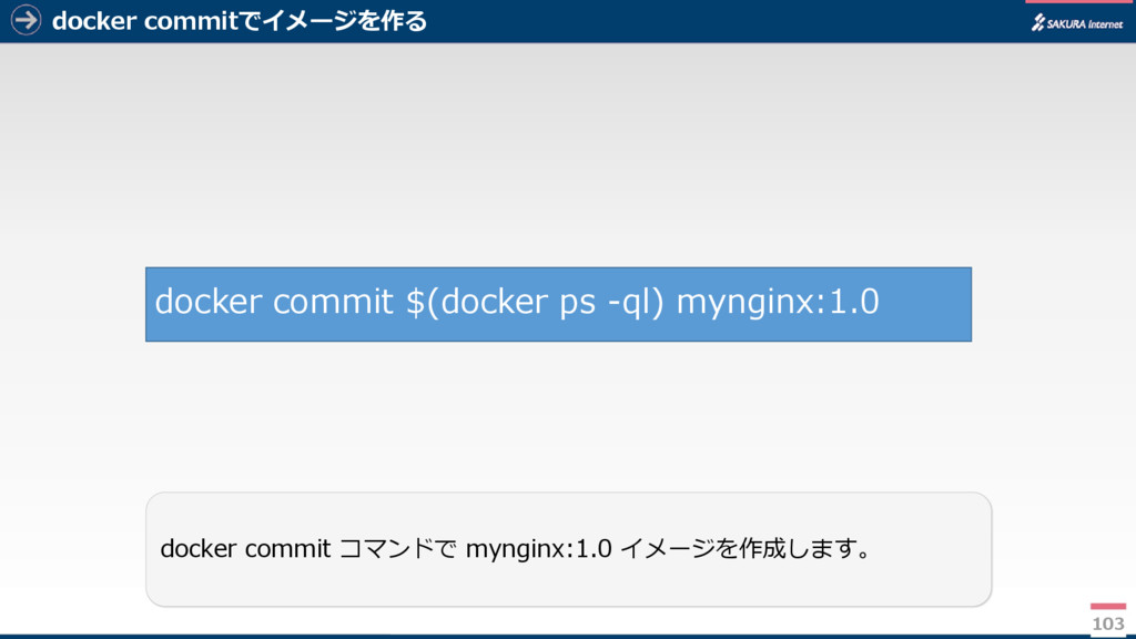 docker commitでイメージを作る 103 docker commit コマンドで m...