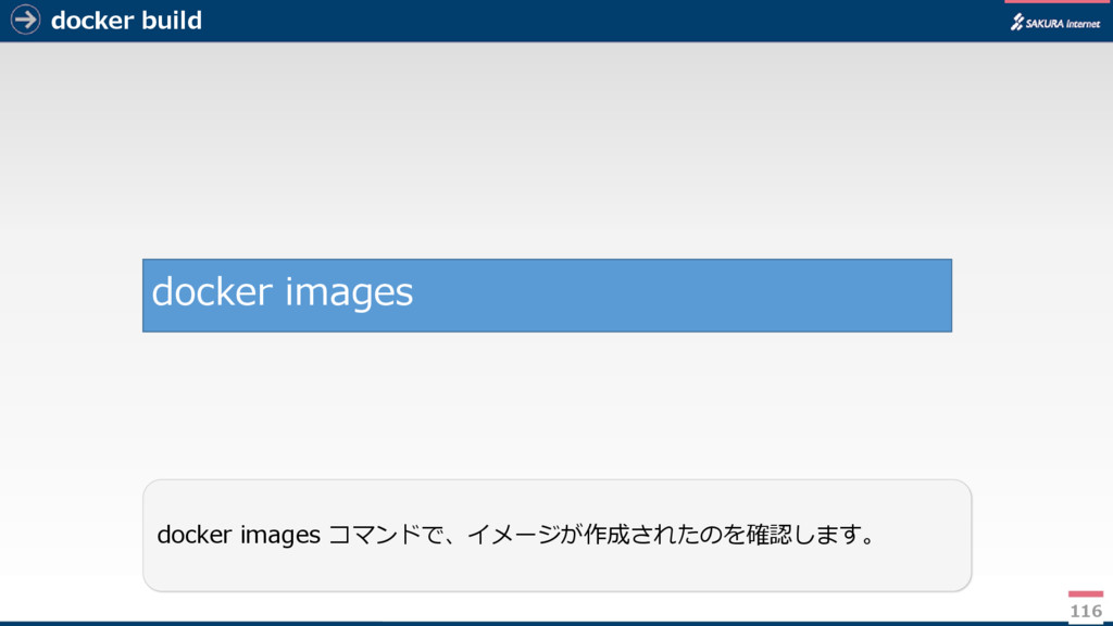 docker build 116 docker images コマンドで、イメージが作成された...