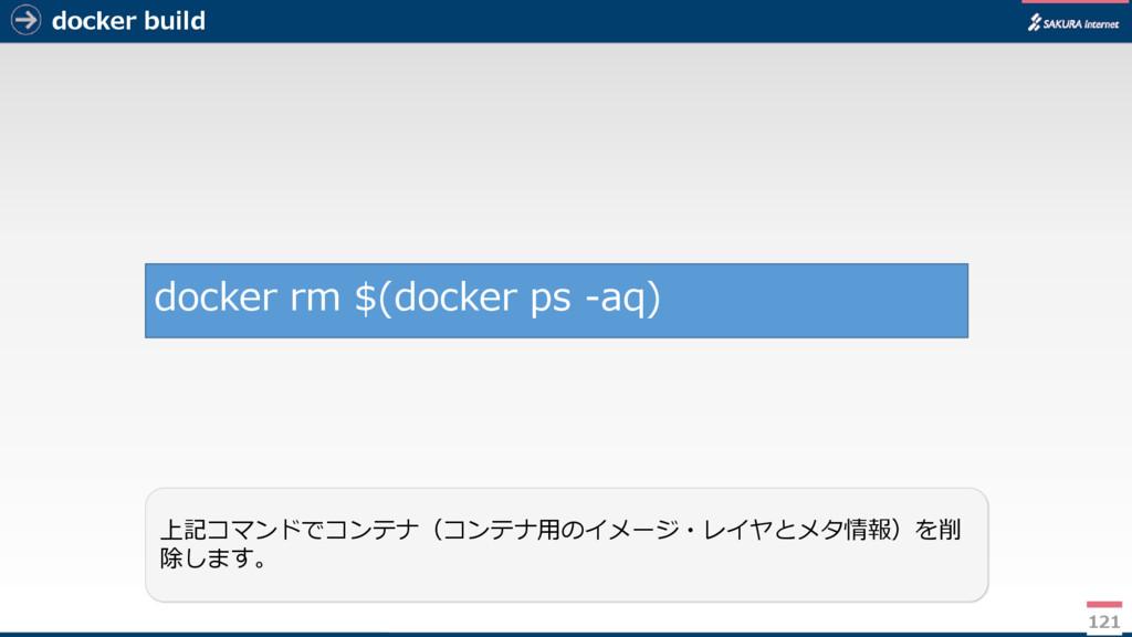 docker build 121 上記コマンドでコンテナ(コンテナ用のイメージ・レイヤとメタ情...