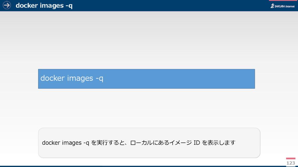 docker images -q 123 docker images -q を実行すると、ロー...