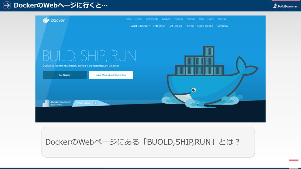 DockerのWebページに行くと… 1 DockerのWebページにある「BUOLD,SHI...