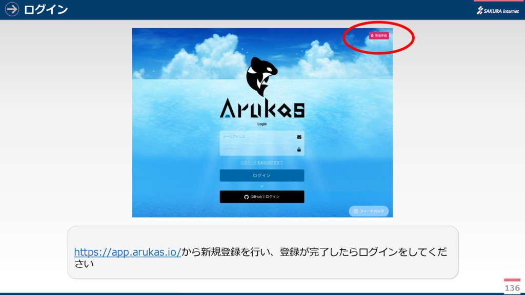 ログイン 136 https://app.arukas.io/から新規登録を行い、登録が完了し...