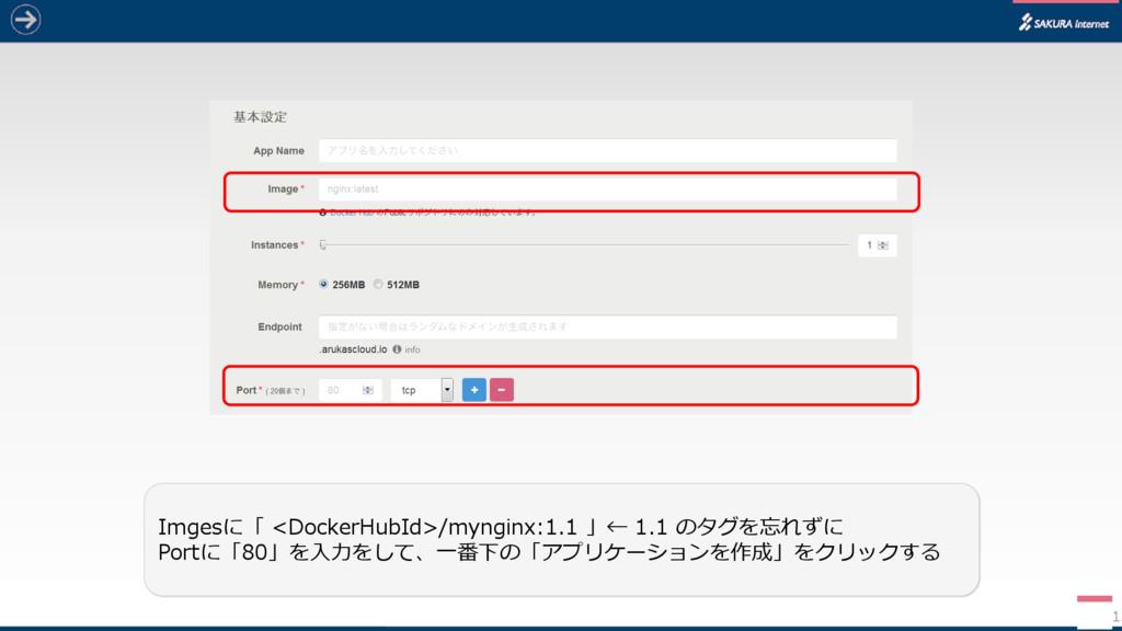 13 Imgesに「 <DockerHubId>/mynginx:1.1 」← 1.1 のタグ...
