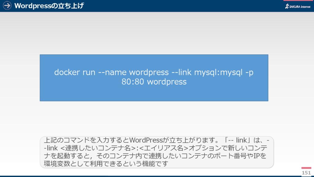Wordpressの立ち上げ 151 上記のコマンドを入力するとWordPressが立ち上がり...