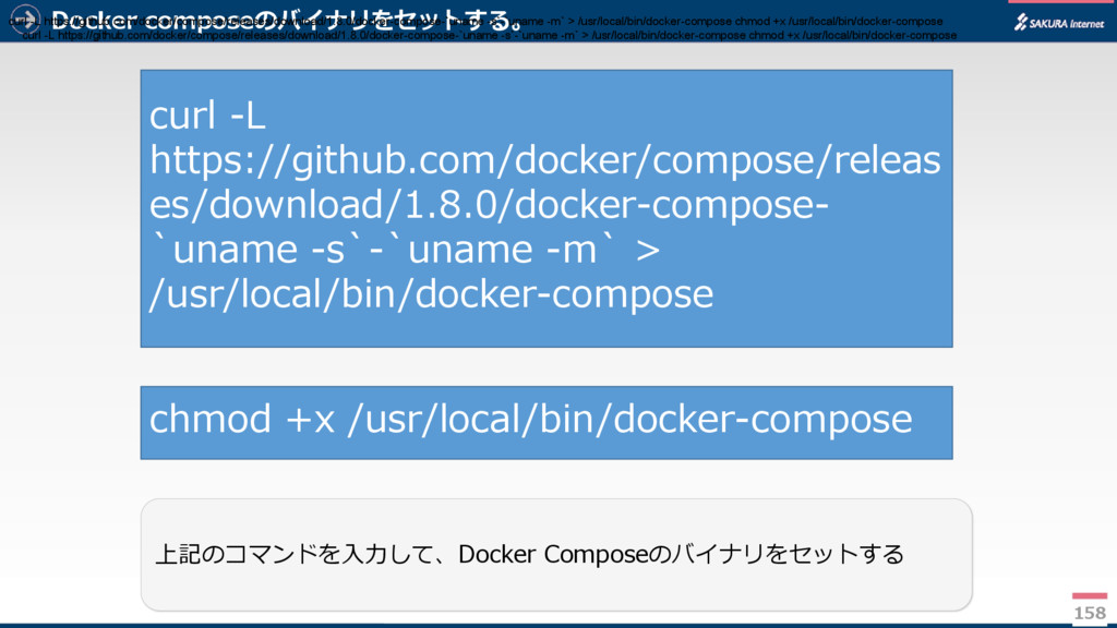 Docker composeのバイナリをセットする。 158 上記のコマンドを入力して、Doc...