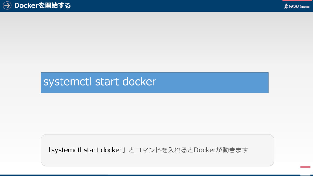 Dockerを開始する 4 「systemctl start docker」とコマンドを入れる...