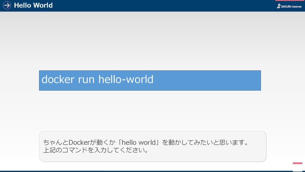 Hello World 5 ちゃんとDockerが動くか「hello world」を動かしてみ...