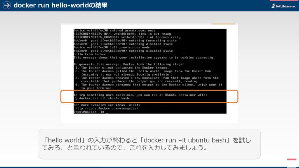 docker run hello-worldの結果 5 「hello world」の入力が終わ...