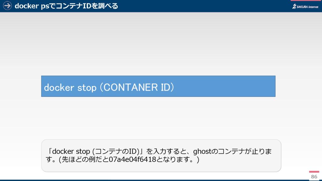 docker psでコンテナIDを調べる 86 「docker stop (コンテナのID)」...
