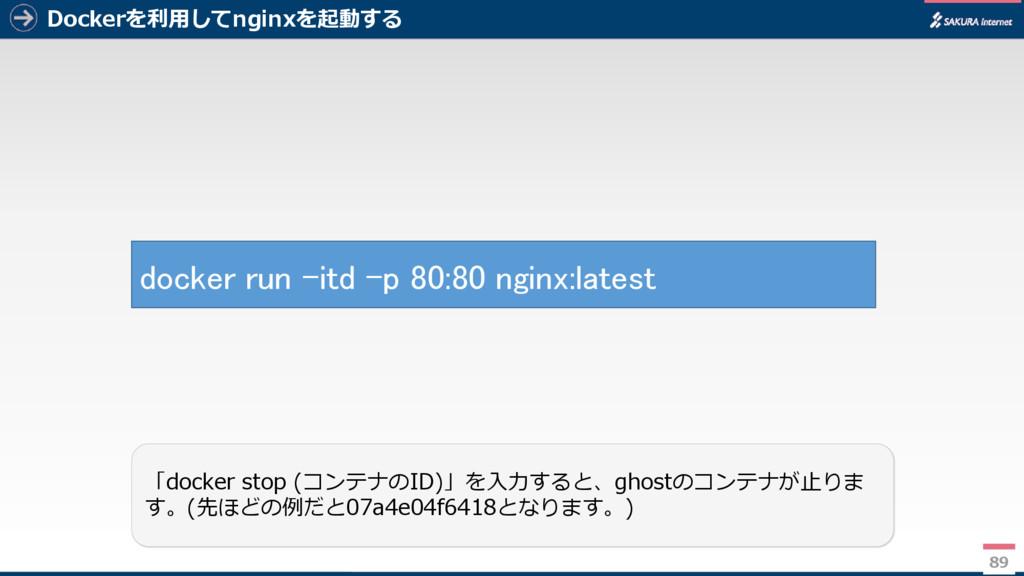 Dockerを利用してnginxを起動する 89 「docker stop (コンテナのID)...