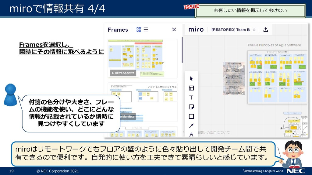 19 © NEC Corporation 2021 miroで情報共有 4/4 共有したい情報...