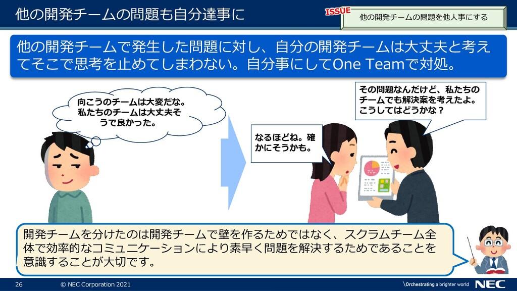 26 © NEC Corporation 2021 他の開発チームの問題も自分達事に 他の開発...