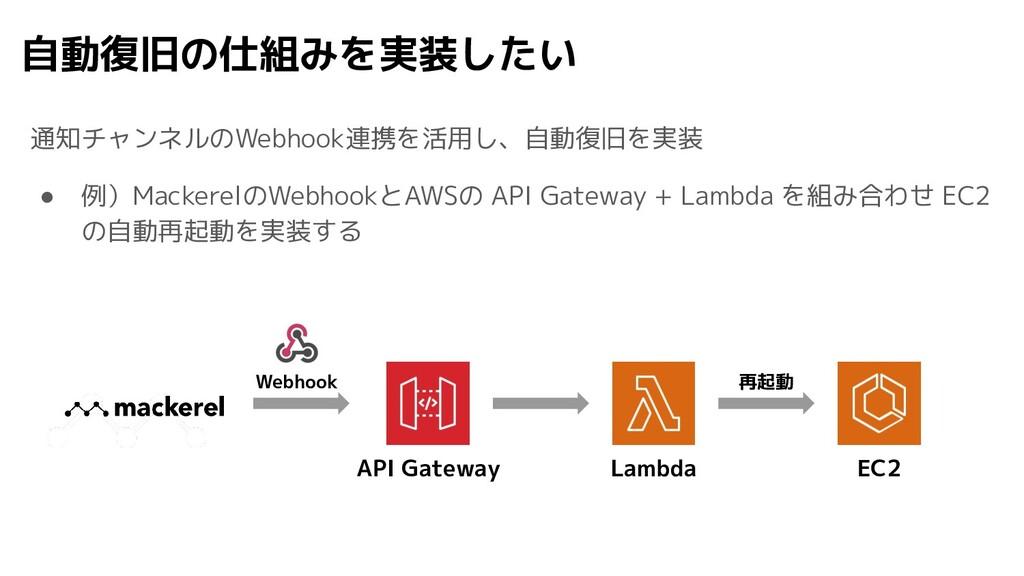 自動復旧の仕組みを実装したい 通知チャンネルのWebhook連携を活用し、自動復旧を実装 ● ...