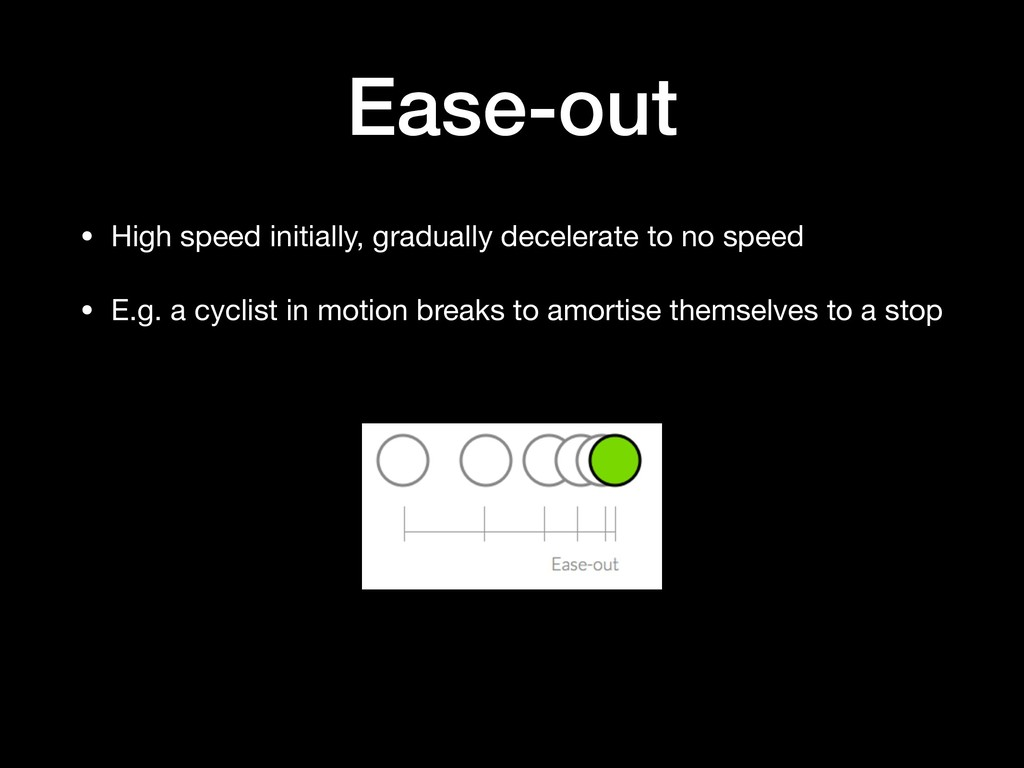 Ease-out • High speed initially, gradually dece...
