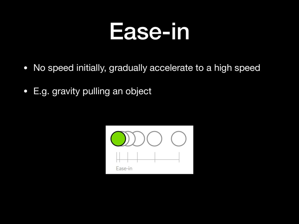 Ease-in • No speed initially, gradually acceler...