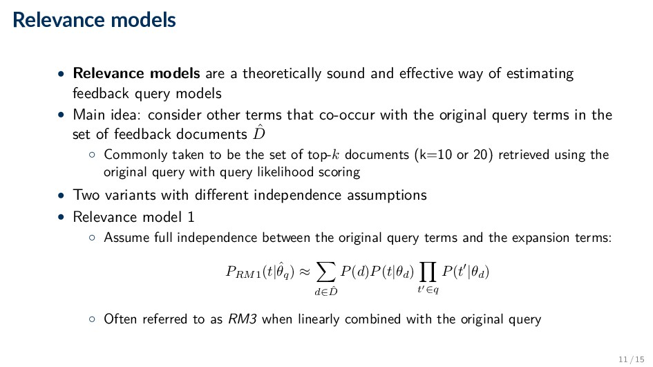 Relevance models • Relevance models are a theor...