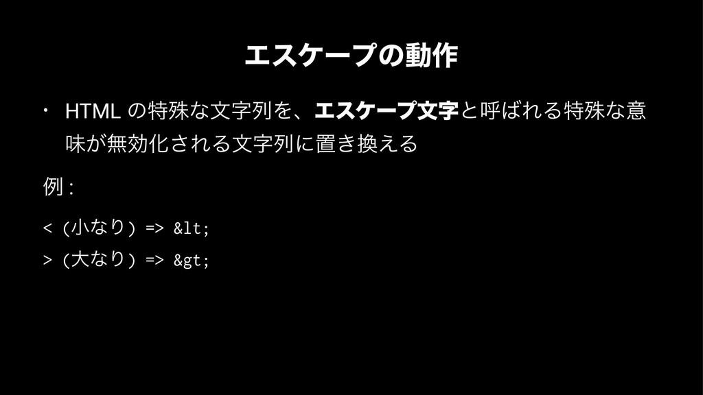 Τεέʔϓͷಈ࡞ • HTML ͷಛघͳจྻΛɺΤεέʔϓจͱݺΕΔಛघͳҙ ຯ͕ແޮԽ...