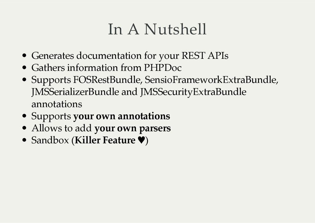 In A Nutshell Generates documentation for ...