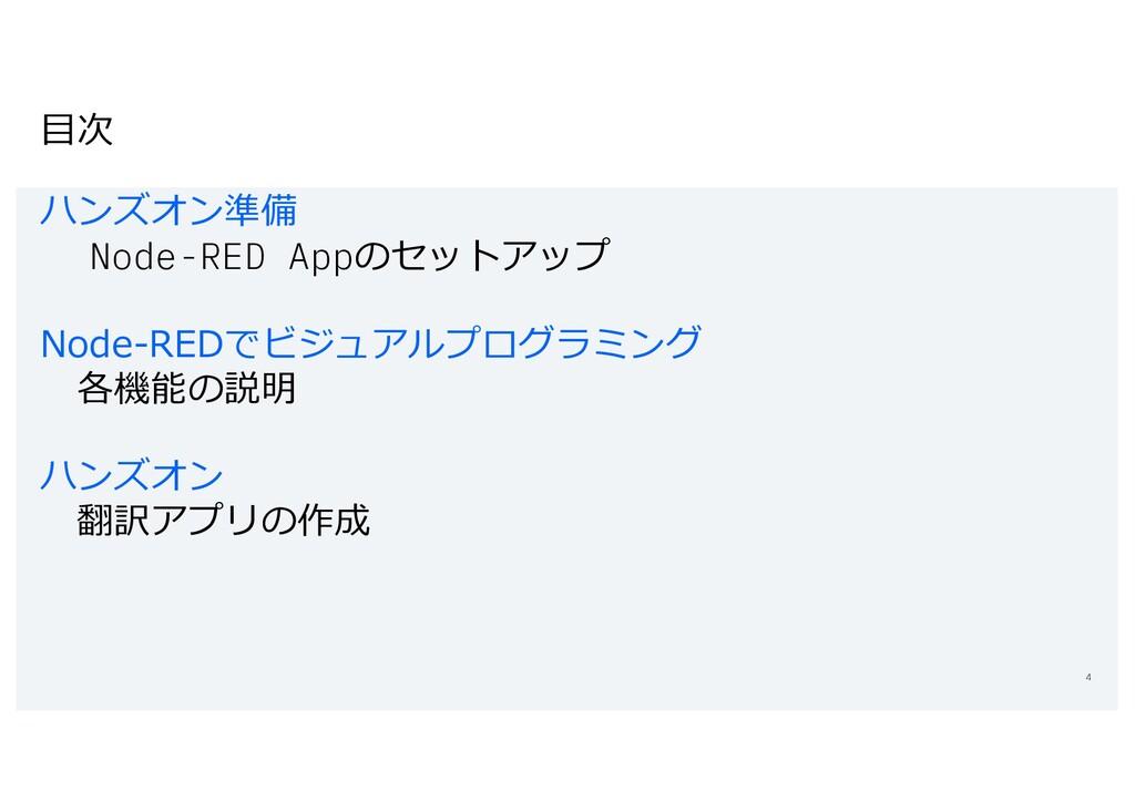 ⽬次 ハンズオン準備 Node-RED Appのセットアップ Node-REDでビジュアルプロ...