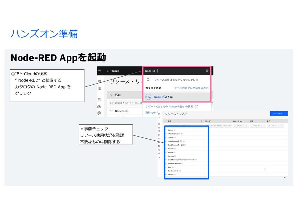 ハンズオン準備 Node-RED Appを起動 6 *事前チェック リソース使⽤状況を確認 不...