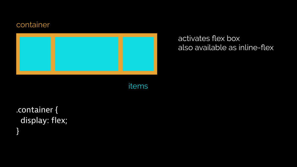 container items .container { display: flex; } a...