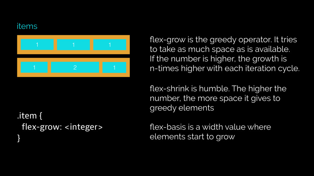 1 items .item { flex-grow: <integer> } flex-grow...