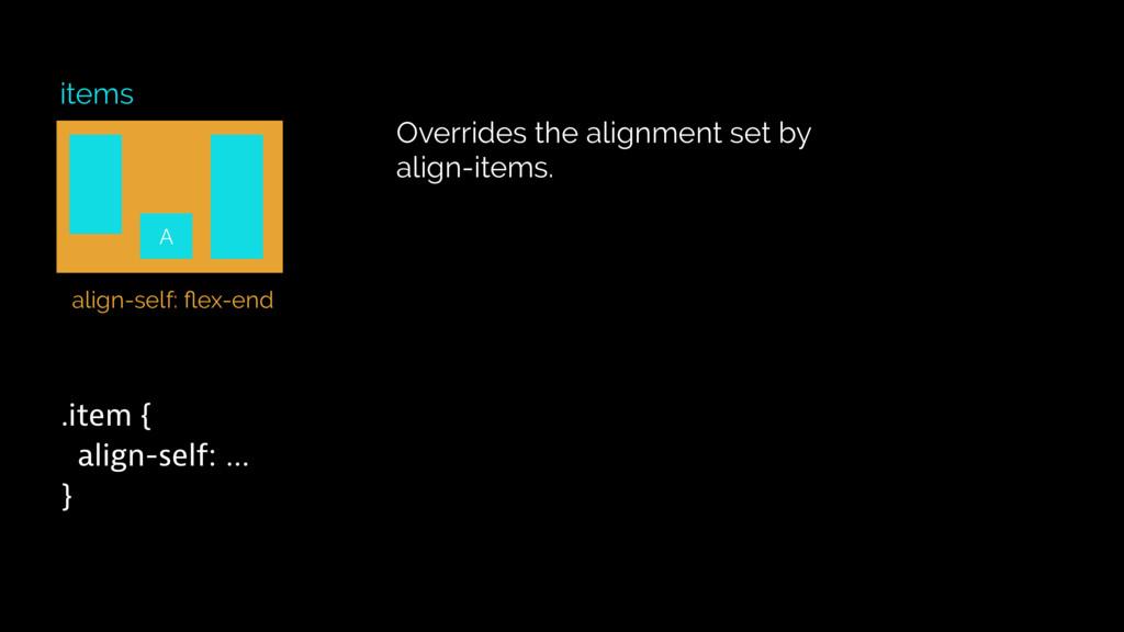items .item { align-self: … } Overrides the ali...