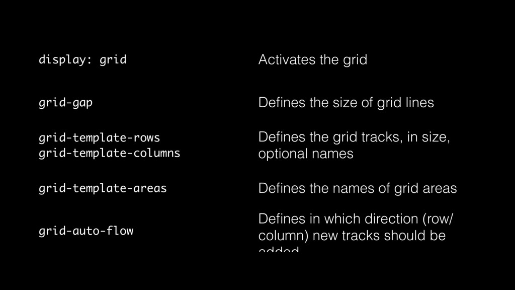 display: grid Activates the grid grid-gap Define...