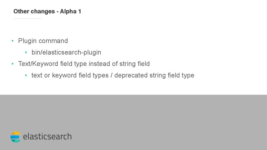 elasticsearch Other changes - Alpha 1 • Plugin ...