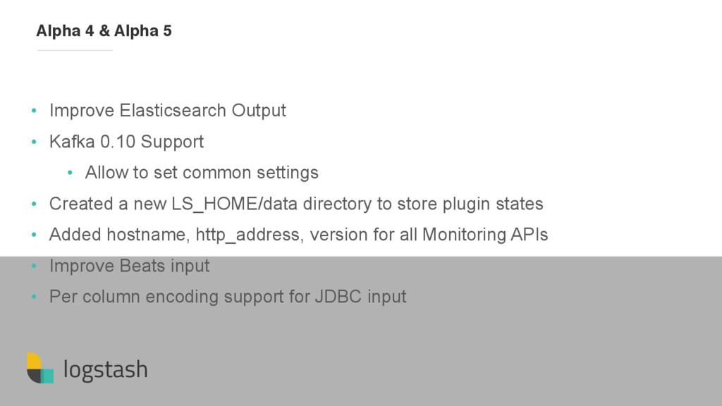 logstash • Improve Elasticsearch Output • Kafka...