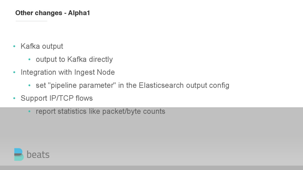 Other changes - Alpha1 • Kafka output • output ...