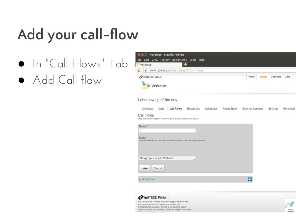 """Add your call-flow ● In """"Call Flows"""" Tab ● Add ..."""