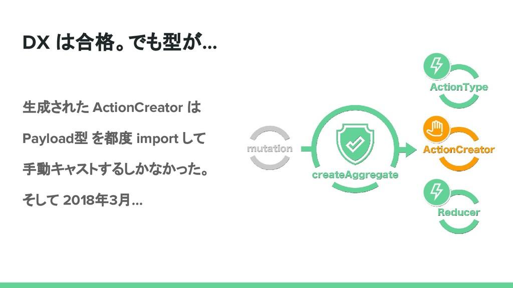 DX は合格。でも型が… 生成された ActionCreator は Payload型 を都度...