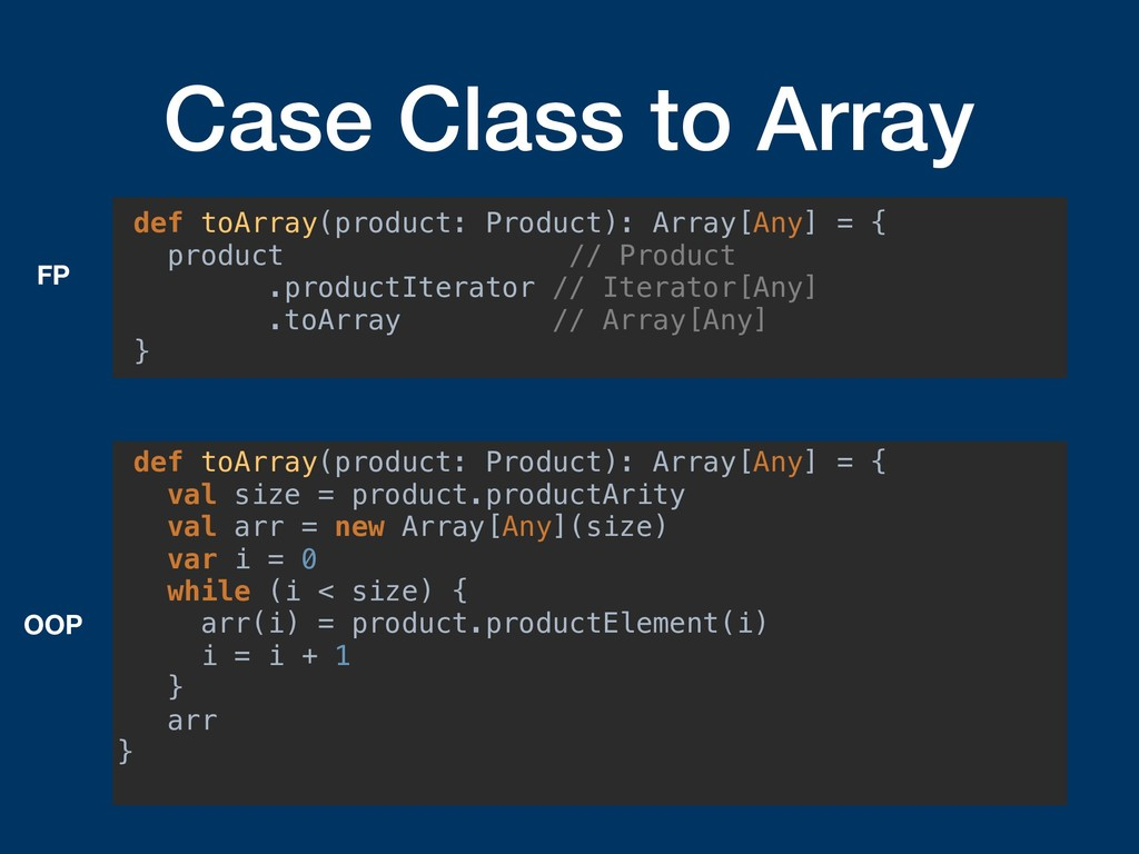 Case Class to Array def toArray(product: Produc...