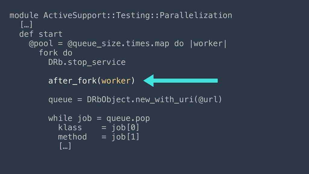 module ActiveSupport::Testing::Parallelization ...