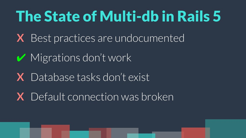 X Best practices are undocumented ✔ Migrations ...