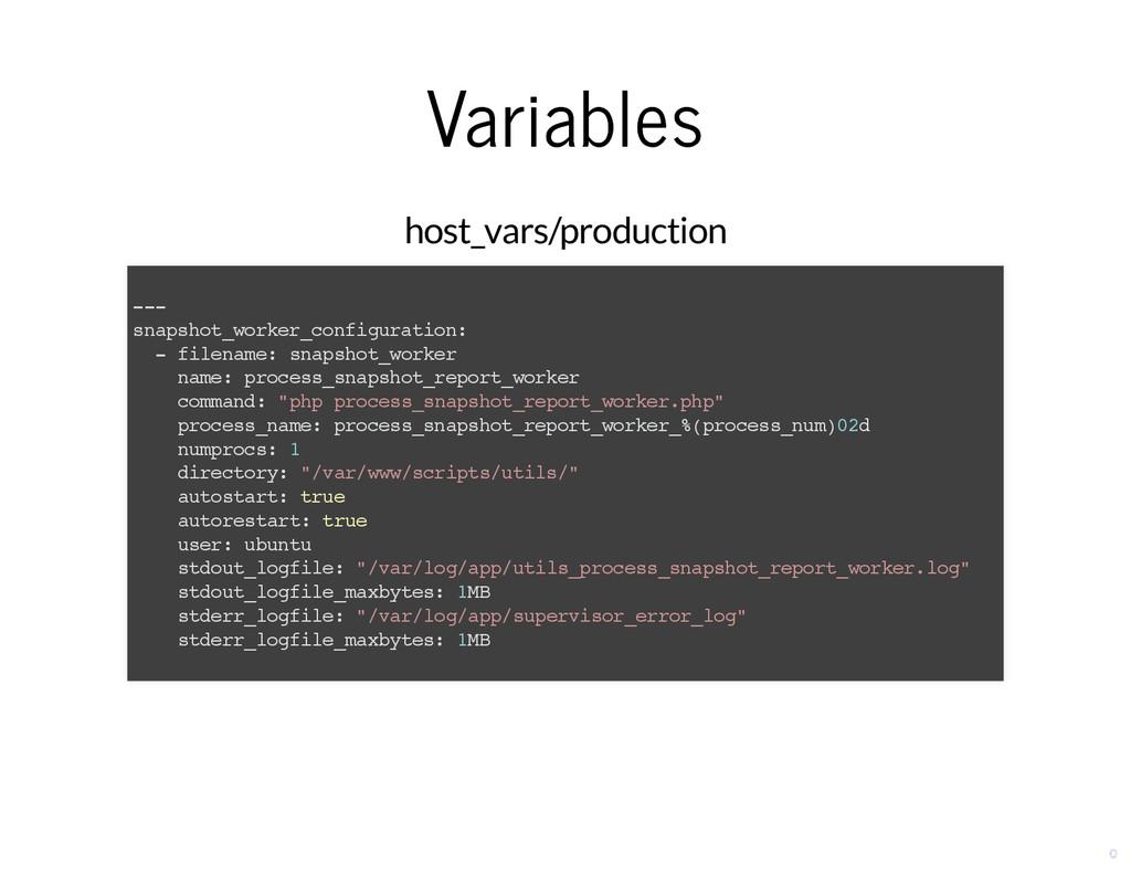 Variables Variables host_vars/production --- sn...