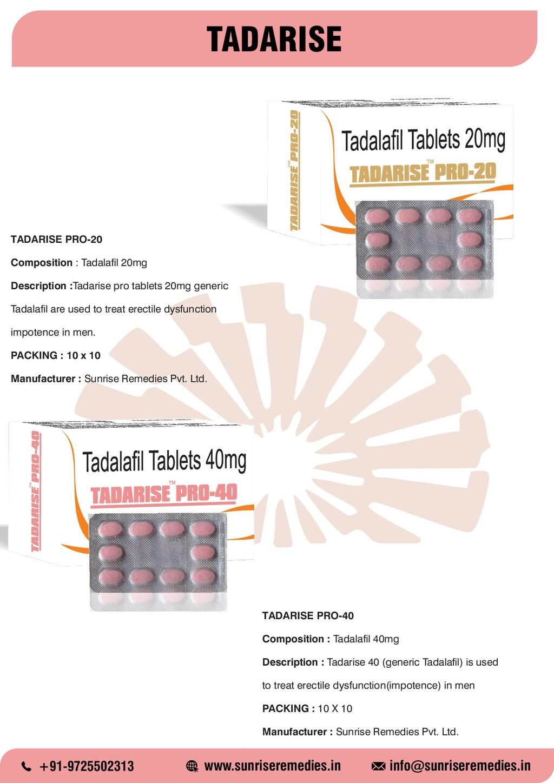 TADARISE TADARISE PRO-20 Composition : Tadalafi...