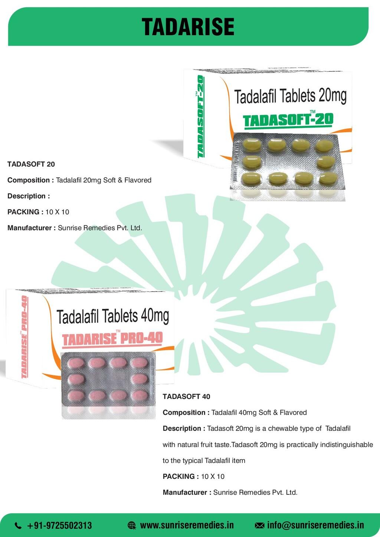 TADARISE TADASOFT 20 Composition : Tadalafil 20...