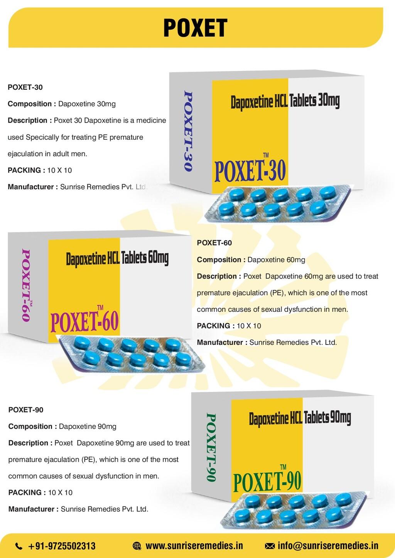 POXET POXET-30 Composition : Dapoxetine 30mg De...