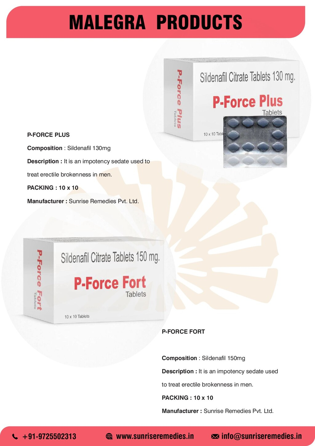 MALEGRA PRODUCTS P-FORCE FORT Composition : Sil...